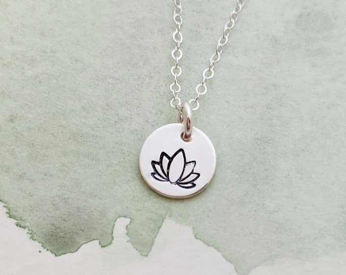 Tiny Lotus Charm, Lotus Necklace, Yoga Gift, Dainty Necklace, Gift for Her, Gold or Silver