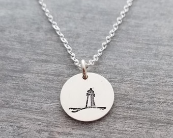 Silver Lighthouse Necklace, Beach Necklace, Bridesmaid Gift, Nautical Jewelry, Lighthouse Charm