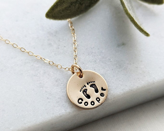 Gold Name Charm, Personalized Name Necklace, Baby Footprint Charm, Personalized Gift