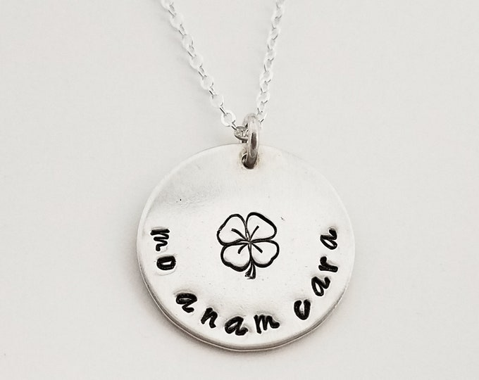 Mo Anam Cara Necklace, Shamrock Necklace, Soul Mate, Irish, Gaelic, Sterling Silver, Gift Idea, Valentines Day Gift. Gift for Her