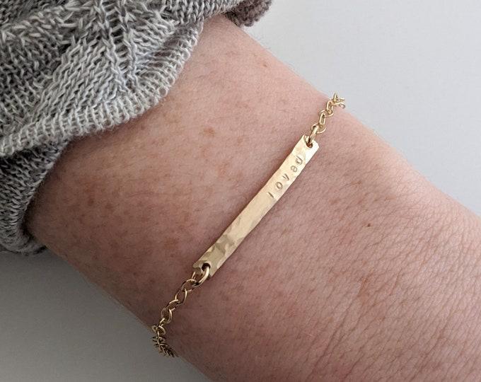 Name Bracelet, Personalized Skinny Bar Charm, Gold Bracelet, Valentines Day, Gift for Her