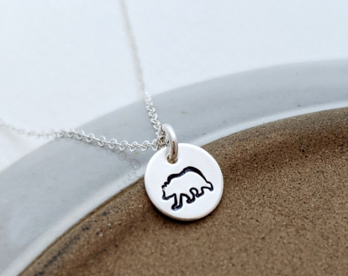 Tiny Bear Charm, Mama Bear Necklace, Dainty Necklace, Gift for Her, Gold or Silver