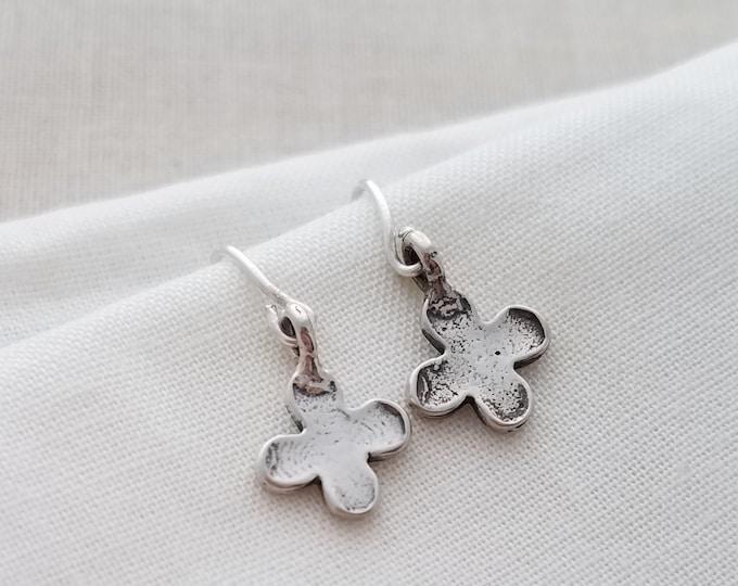 Tiny clover cross earrings, Sterling Silver Earrings, Gift Idea