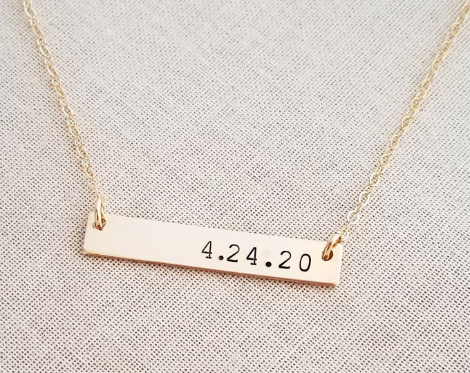 Gold Bar Necklace,  Personalized Bar Necklace, Customized Name Bar Necklace, Gold Bar Date Necklace, Bridal shower Gift Idea