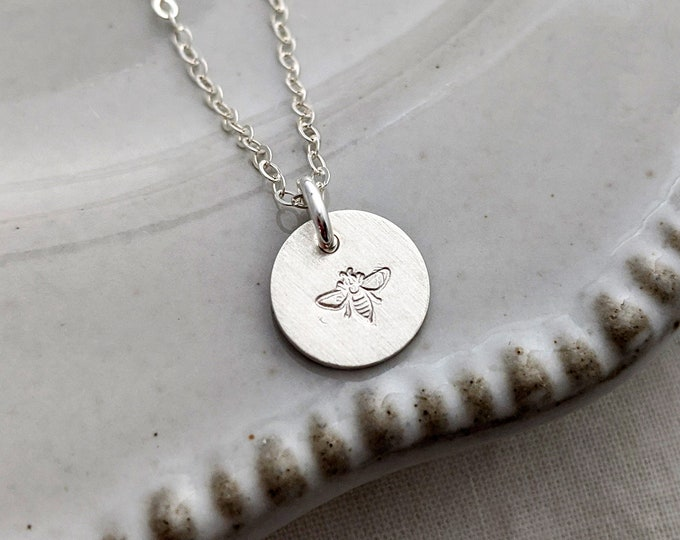 Tiny Silver Bee Necklace, Bee Charm, Minimal Bee Necklace, Gift Idea, Necklace, Jewelry