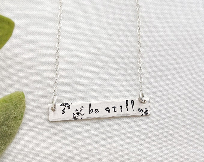 Personalized Bar Necklace, Bar Charm Necklace, Custom Word Necklace, Sterling Silver, Gold, Floral