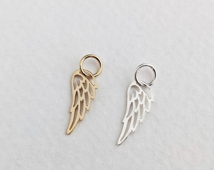 Add A Wing Charm to any listing | Add on Charm | Sterling Silver Wing Charm | Gold Wing Charm