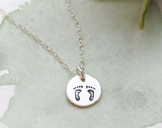 Tiny Footprint Charm, Footprint Necklace, Dainty Necklace, Gift for Her, Gold or Silver