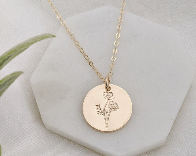 Birth Flower Necklace, Flower Girl Gift, Birth Month Flower Necklace, Gift for New Moms, Gold or Silver Charm