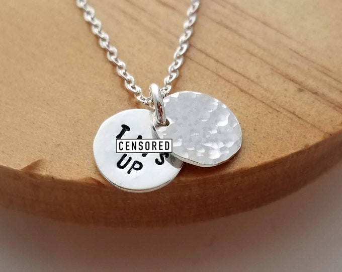 Marvelous Mrs Maisel, Hidden Message Necklace, Tits Up, Tiny Minimal Necklace, Gold Necklace, Dainty Jewelry,