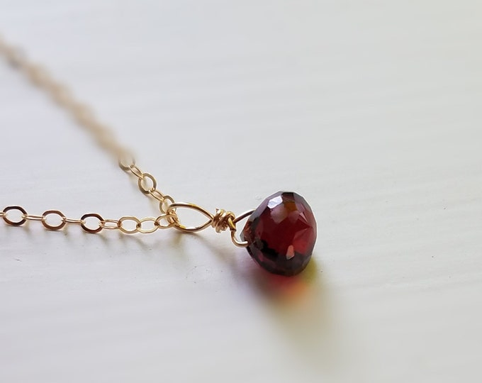Garnet Necklace, January Necklace, Gold Layering Necklace, Boho Necklace, Gift Idea, January Birthstone, Gift for Her