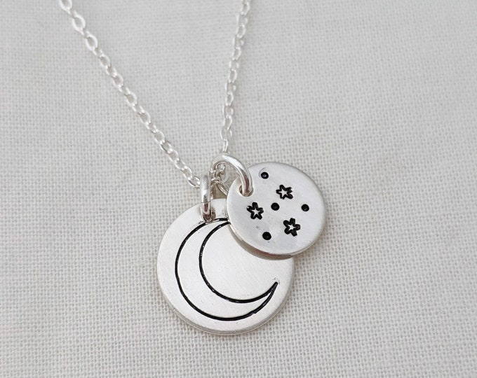 To the Moon and Back Necklace, Celestial Jewelry, Silver Moon and Stars Necklace, Gift for Her