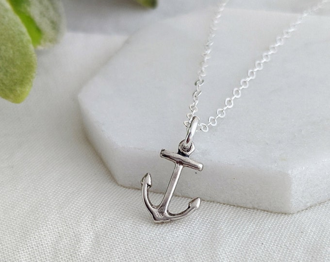 Silver Anchor Necklace, Anchor Charm, Ocean Jewelry