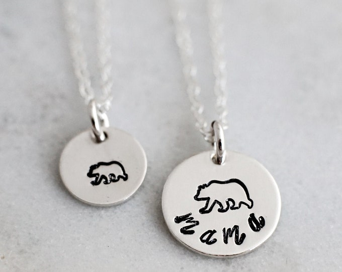 Mama Bear Necklace Set, Baby Bear, Mother Daughter, Gift Idea, Hand Stamped Jewelry, Necklace set for Moms, Jewelry, Necklace