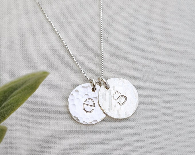 Silver Initial Necklace, Personalized Jewelry, Hand Stamped charms, Initial Necklace, Initial Charms, Gift Idea