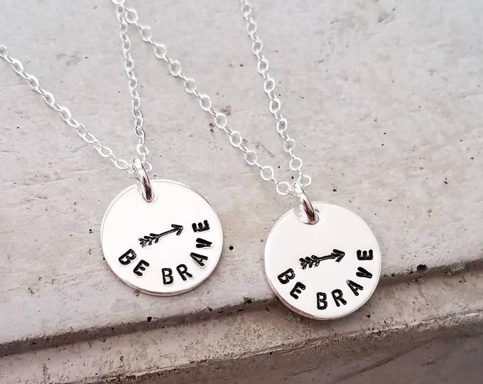 Best Friend Arrow Necklace, Sterling Silver Arrow Necklace, Hand Stamped Jewelry, Inspirational Jewelry