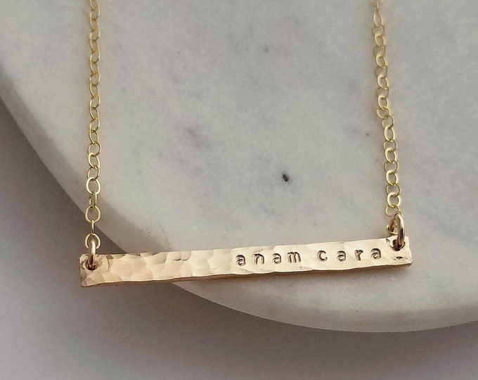 Anam Cara Necklace, Skinny Bar Necklace, Irish Jewelry, Best Friend Gift, Personalized Gold Filled Bar