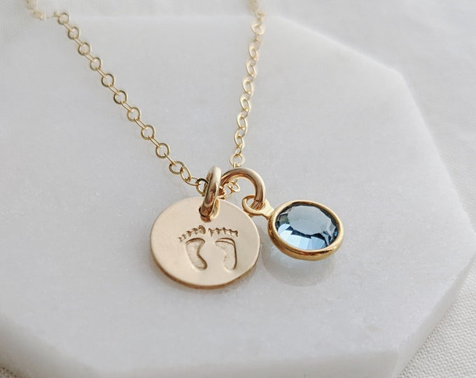 Tiny Footprint Charm Necklace, Birthstone Jewelry, Baby Shower Gift, Mommy Necklace, Expecting Jewelry, Sterling Silver