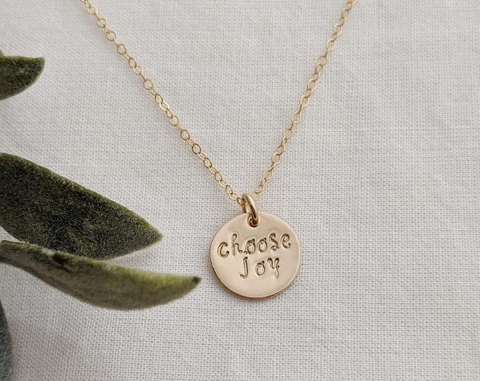 Choose Joy Necklace, Inspirational Necklace, Motivational Gift, Upbeat Gift For Her