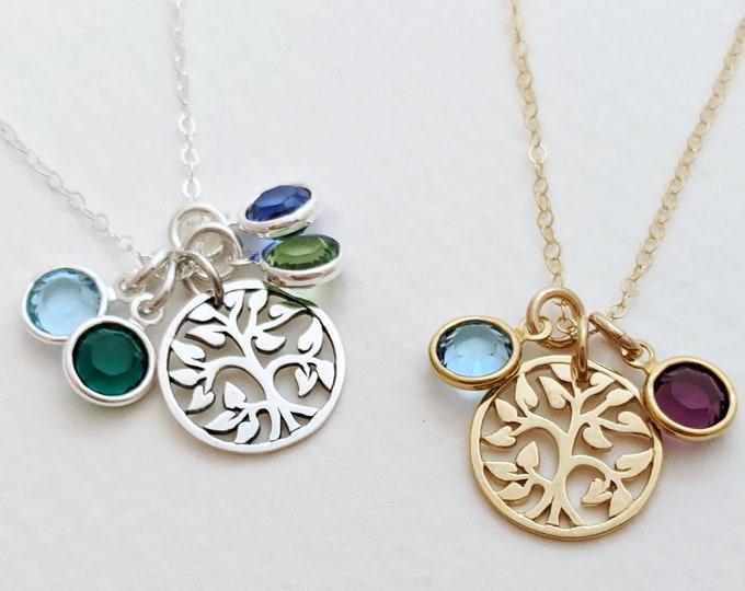Birthstone Necklace for Moms, Birthstone Necklace for Grandmother, Birthstone Charm Necklace