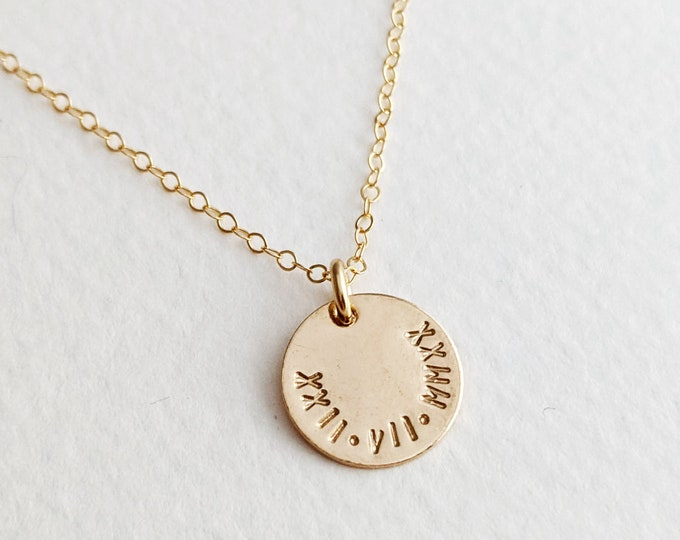 Roman Numeral Birthdate Necklace, Personalized Necklace, Gift for New Moms, Mothers Day Gift
