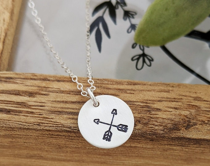 Crossed Arrows Necklace, Dainty Layered Disc Necklace, Friendship Necklace, Friendship Jewelry, Gift for Friend