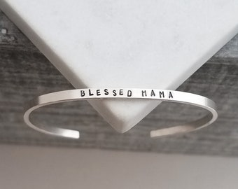 Personalized Skinny Cuff Bracelet, Blessed Mama, Hand Stamped Jewelry, Minimal Bracelet, Handmade Jewelry, Mothers Day Gift Idea