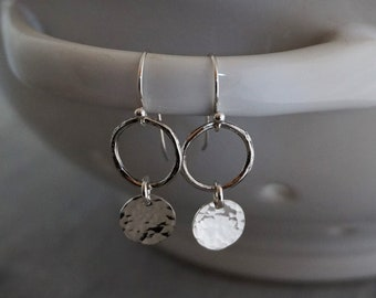 Silver Circle Earrings, Dainty Earrings, Modern Geometric, Minimal Jewelry, Gift Idea, Gift for Her, Mothers Day