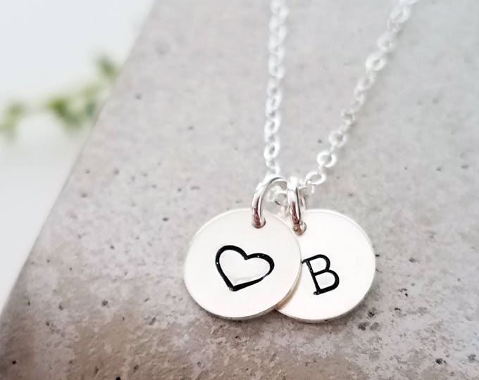 Initial Charm Necklace, Heart Charm, Silver Initial Disc