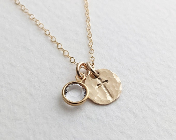 Tiny Gold Cross Necklace, Birthstone Necklace, Dainty Cross, First Communion Gift, Cross Gift