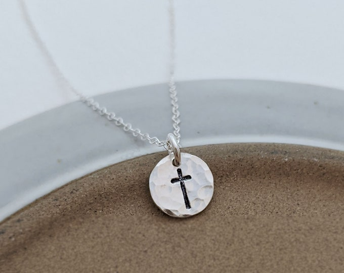 Tiny Silver Cross Necklace, Dainty Cross, Charm Necklace, Minimal Jewelry, Gold or Silver, The Stamped Life