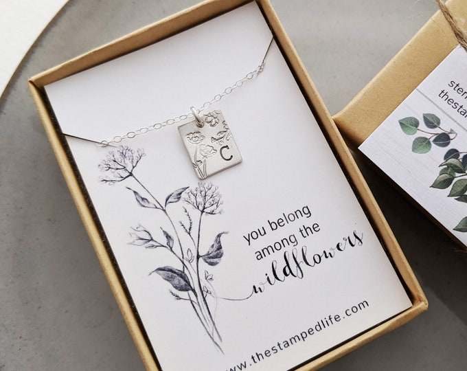 You Belong Among the Wildflowers Necklace | Initial Necklace | Tom Petty Quote | Wildflowers | Gift for Her