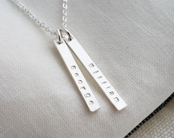 Personalized Silver Bar Necklace, Dainty Necklace, Personalized Tags