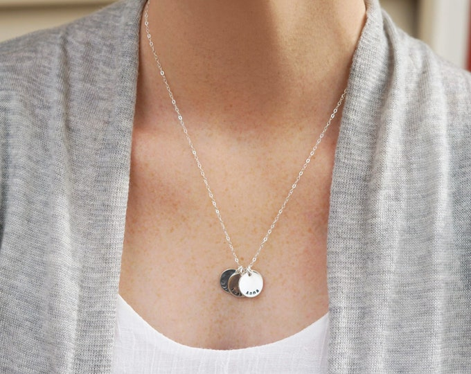 Personalized Disc Necklace, Simple Name Necklace, Personalized Name Necklace, Sterling Silver, Layering Necklace, Jewelry, Gift for Her