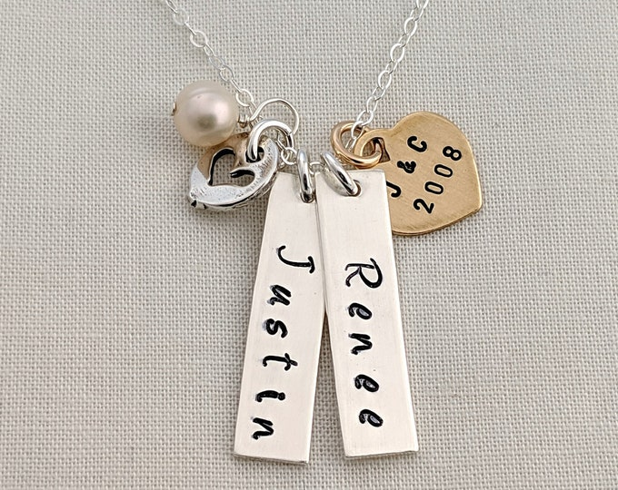 Two Name Bar Charm and Heart Personalized Necklace With initials
