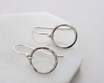 Twiggy Circle Earrings, Dainty Earrings, Simple Sterling Earrings, Minimal Jewelry, Gift Idea, Gift for Her