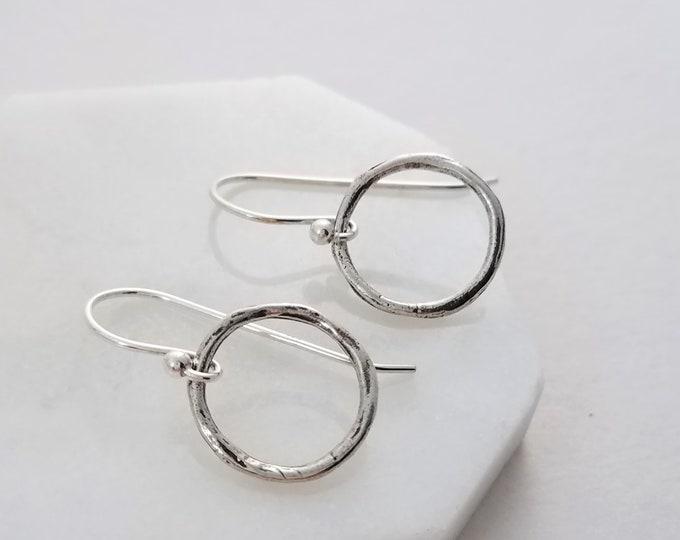 Silver Circle Earrings, Dainty Earrings, Simple Sterling Earrings, Minimal Jewelry, Gift Idea, Gift for Her