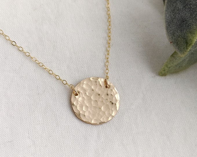 Minimal Gold Necklace, Hammered Gold Disc, Simple Gold Necklace