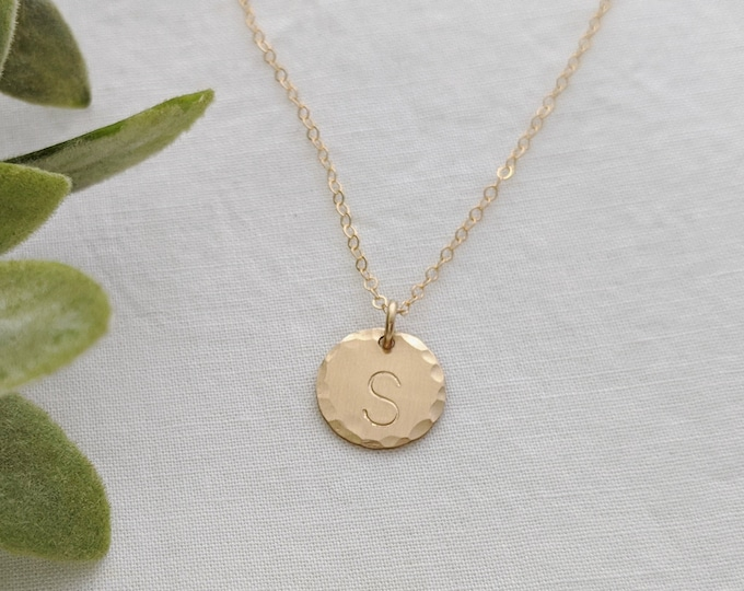 Gold Initial Necklace- Gold Charm with Initial- Custom Initial Charm- Personalized Jewelry- The Stamped Life