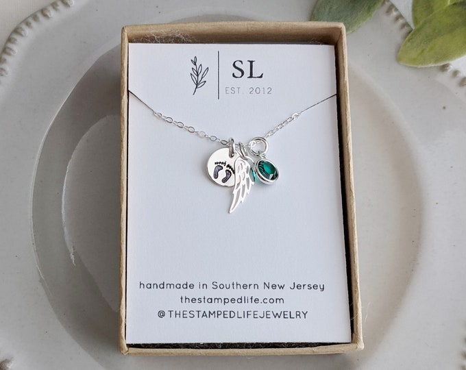 Baby Loss Necklace   Sterling Silver   Miscarriage Necklace   Miscarriage Gift   Angel Wing Necklace   Birthstone Jewelry