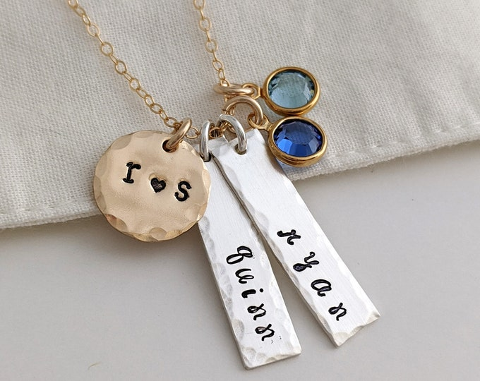 Two Name Necklace, Bar Charm Personalized Necklace, mothers necklace, Custom Name Pendant