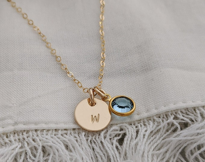 Gold Initial Necklace with Birthstone, Personalized Initial Charm, Initial Disc, Mothers Day Gift
