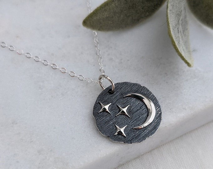 Silver Moon and Stars Necklace, Celestial Charm Necklace, Sterling Silver