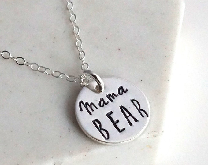 Mama Bear Necklace, Hand Stamped Jewelry, Necklace for Moms, New Mom Gift, Baby Shower Gift, Gift for Her, Necklace, Jewelry