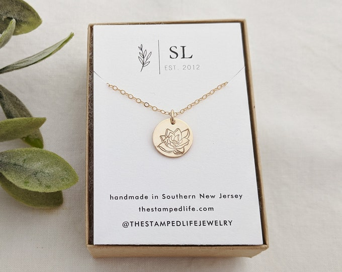 Magnolia Necklace, Gold Flower Necklace, Dainty Floral Necklace, Floral Jewelry, Gift Idea