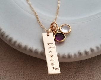 Blessed Bar Necklace, Gold Bar Necklace, Birthstone Charms, Gift Idea