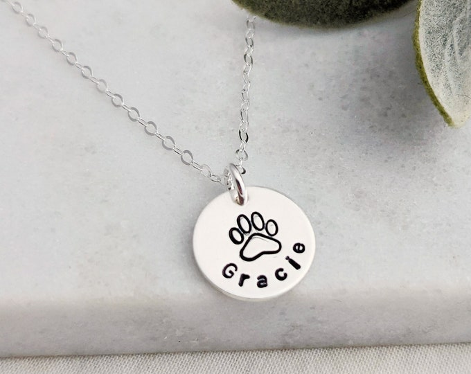 Personalized Pet Necklace, Personalized Dog Name Jewelry, Sterling Silver Pet Charm