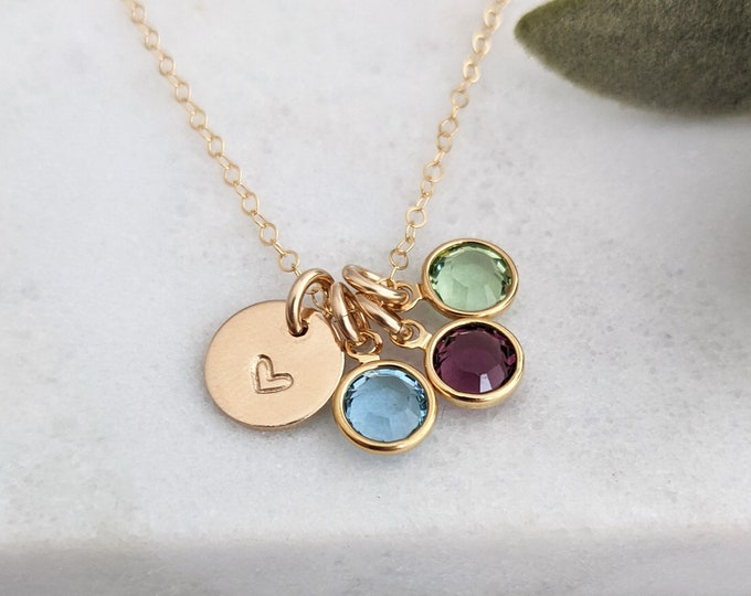 Birthstone Charm Necklace, Necklace for Moms, Personalized Charm Necklace, Heart Charm