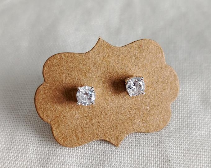 Silver CZ earrings, Simple Stud Earrings, Womens Jewelry, Gift for Her, Minimal Jewelry