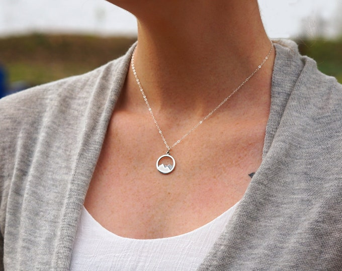 Mountain Necklace, Inspirational Jewelry, Move Mountains, Sterling Silver Necklace, Graduation Gift, Gift for Her, Necklace, Jewelry
